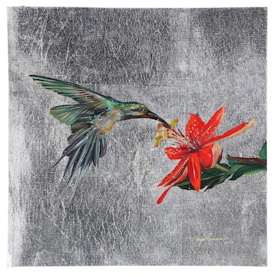 Inga Khanarina Oil Painting of Hummingbird