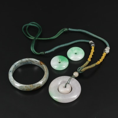 Carved Jadeite Necklace, Bangle and Pendants
