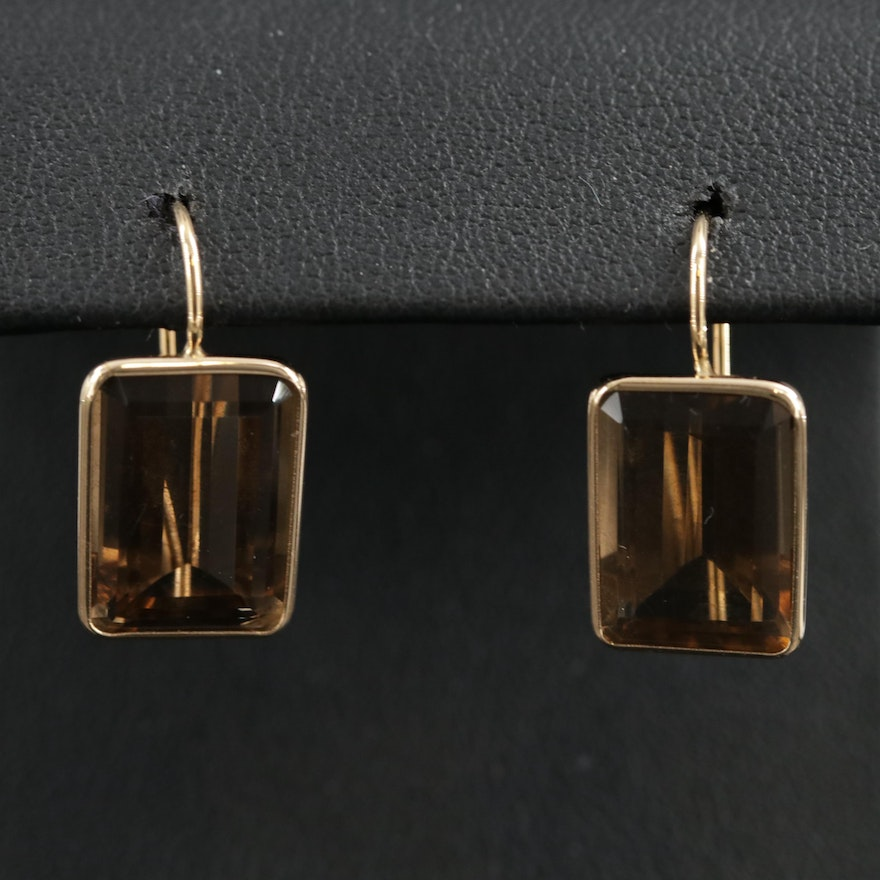 14K Yellow Gold Smoky Quartz Drop Earrings