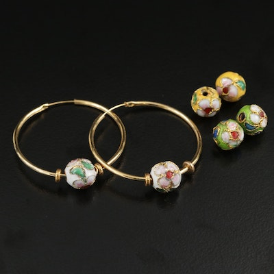 Hoop Earrings With Interchangeable Cloisonné Enhancers
