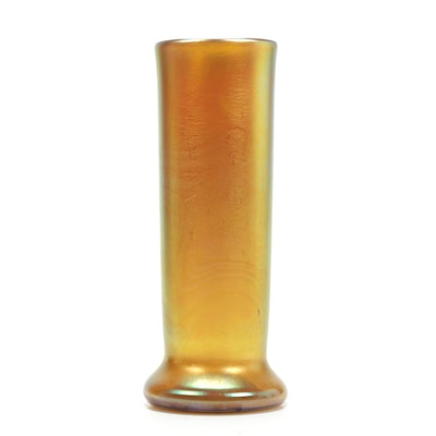 Gold Iridescent Art Glass Vase, Contemporary