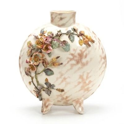 Doulton Lambeth Floral Relief Moon Flask Pillow Vase