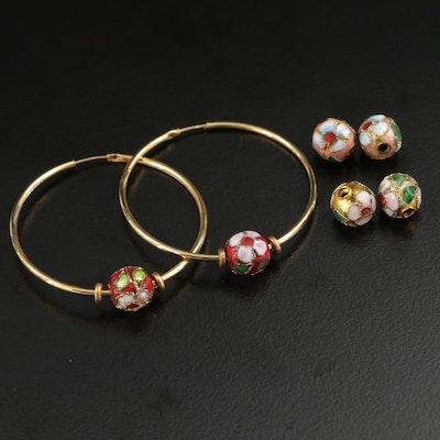 Hoop Earrings With Cloisonne Enamel Bead Accents