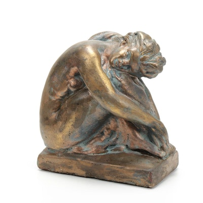 Bronze Finish Nude Woman Figurine