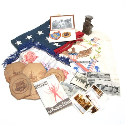 Militaria Collectibles, Photographs, Embroidered Panels and More