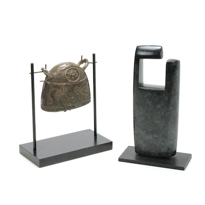 Burmese Brass Water Buffalo Bell and Modern Abstract Sculpture
