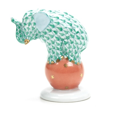 "Herend Green Fishnet ""Elephant on Ball"" Porcelain Figurine"