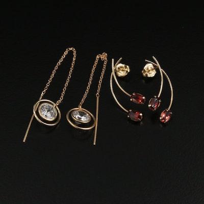 14K Yellow Gold Garnet Drop Earrings and Cubic Zirconia Threader Earrings