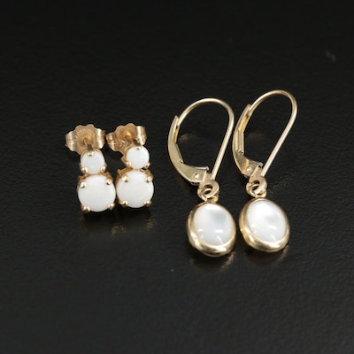 14K Yellow Gold Opal Stud Earrings and Mother of Pearl Dangle Earrings