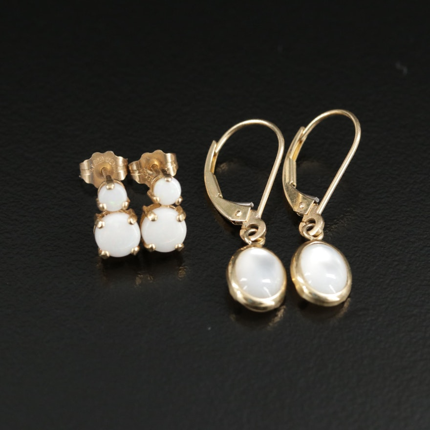 14K Yellow Gold Opal Stud Earrings and Mother of Pearl Dangle Earrings