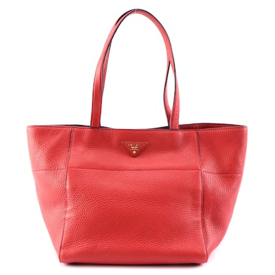 Prada Red Vitello Daino Leather Small Tote Bag