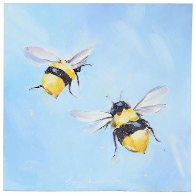 Inga Kranarina Oil Painting of Bees in Flight, 2020