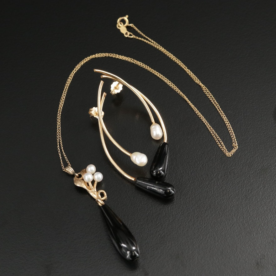 Maui Divers 14K Black Coral and Pearl Necklace and Earring Set