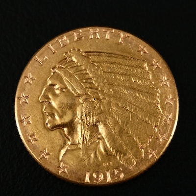 1915 Indian Head $2.50 Gold Quarter Eagle Coin
