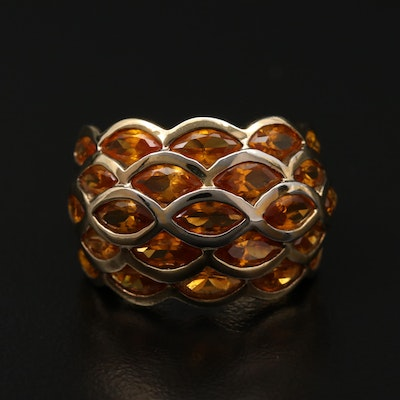Sterling Silver Synthetic Yellow Sapphire Scalloped Ring