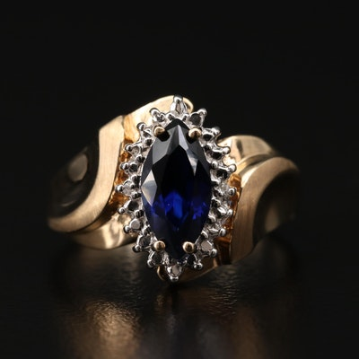 10K Yellow Gold Diamond and Synthetic Sapphire Ring