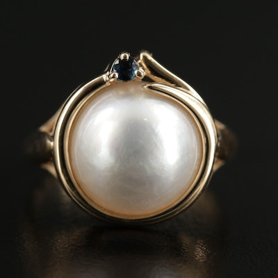 14K Pearl Ring with Sapphire Accent