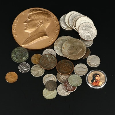 John F. Kennedy Inaugural Medal and Assorted U.S. Coins, Including Silver