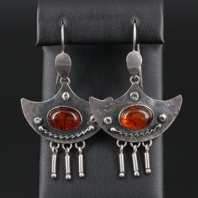 Sterling Silver Amber Dangle Earrings with Hammered Finish