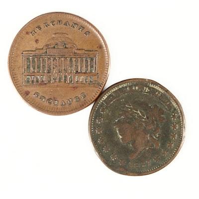 Two U.S. Hard Times Tokens, Liberty Head and NY Merchants' Exchange