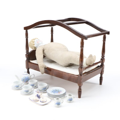 Victorian Doll with Bed and Miniature Tea Service Set