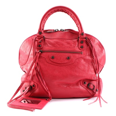Balenciaga Classic Bowling MM Bag in Rouge Agneau Leather
