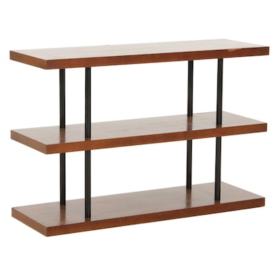 Contemporary Three Tier Wood and Metal Console Table