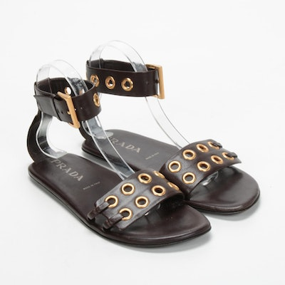 Prada Brown Leather Grommet Ankle Buckled Strap Sandals