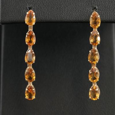 14K Gold Citrine Dangle Earrings