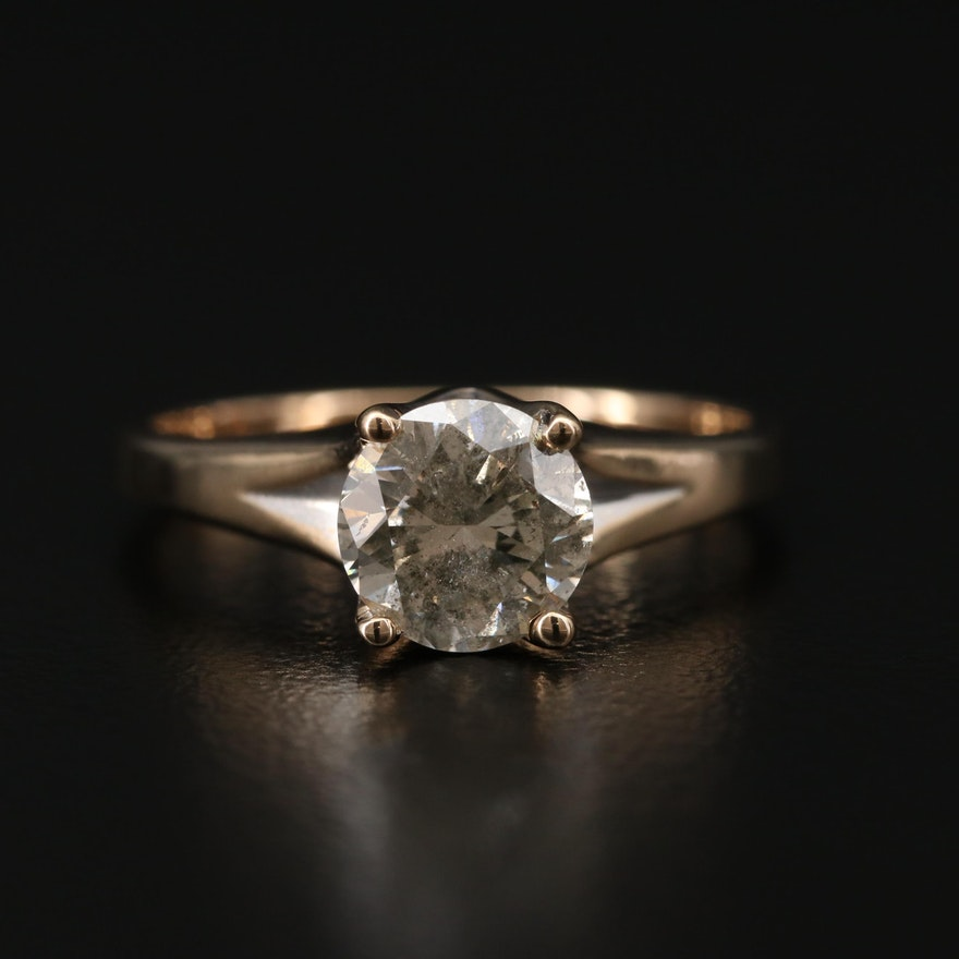 14K Yellow Gold 1.14 CTW Diamond Solitaire Ring
