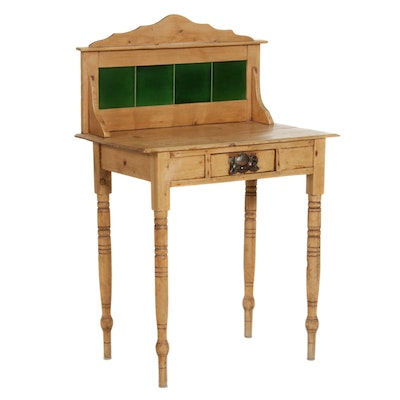 Victorian Pine Washstand with Tile Backsplash, Mid-19th Century