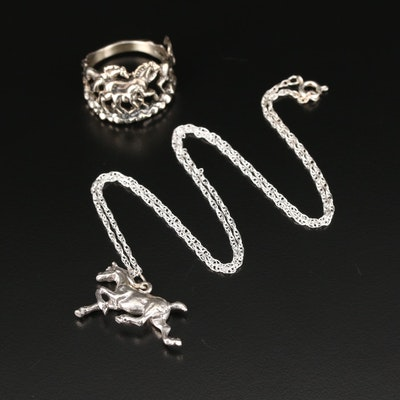 Sterling Pendant Necklace and Ring with Horse Motif