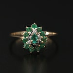 10K Gold Emerald and Diamond Ring