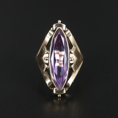 Retro 14K Gold Synthetic Color Change Sapphire Ring