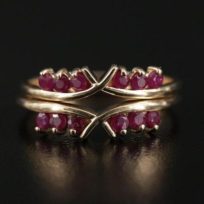 14K Yellow Gold Ruby Ring Set