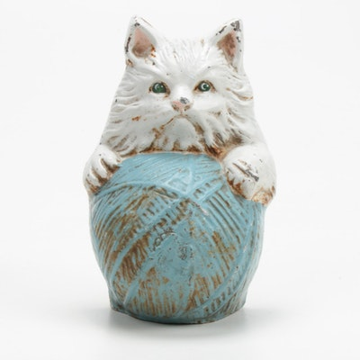 Cast Iron Persian Kitten on Ball of String Doorstop