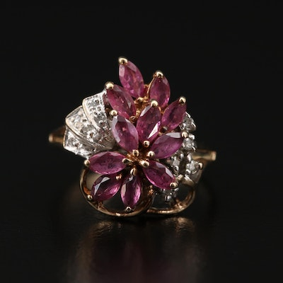 10K Gold Ruby and Diamond Floral Ring