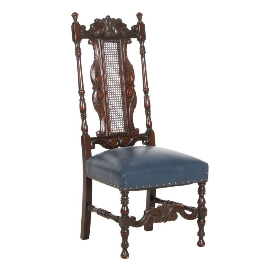 English Jacobean Style High Cane Back Chair with Navy Leather Upholstered Seat