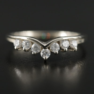 14K White Gold Cubic Zirconia Tiara Ring