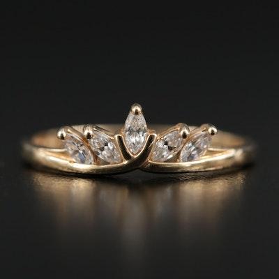 14K Yellow Gold Cubic Zirconia Tiara Ring
