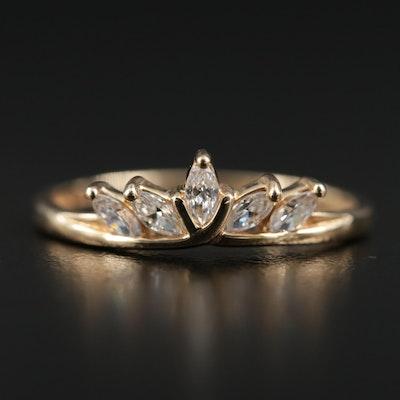 14K Gold Cubic Zirconia Tiara Motif Ring