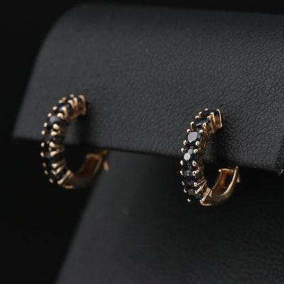 10K Yellow Gold Sapphire Huggie Earrings