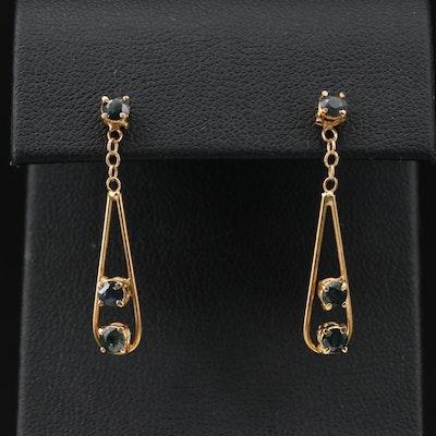 18K Gold Sapphire Dangle Earrings