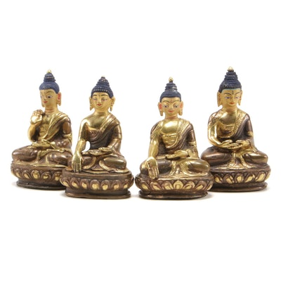 Metal Seated Amitabha Buddha Figurines, Mid to Late 20th Century