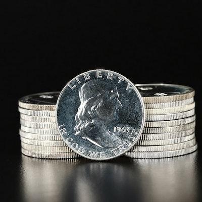 Roll of Twenty Proof 1963 Franklin Silver Half Dollars
