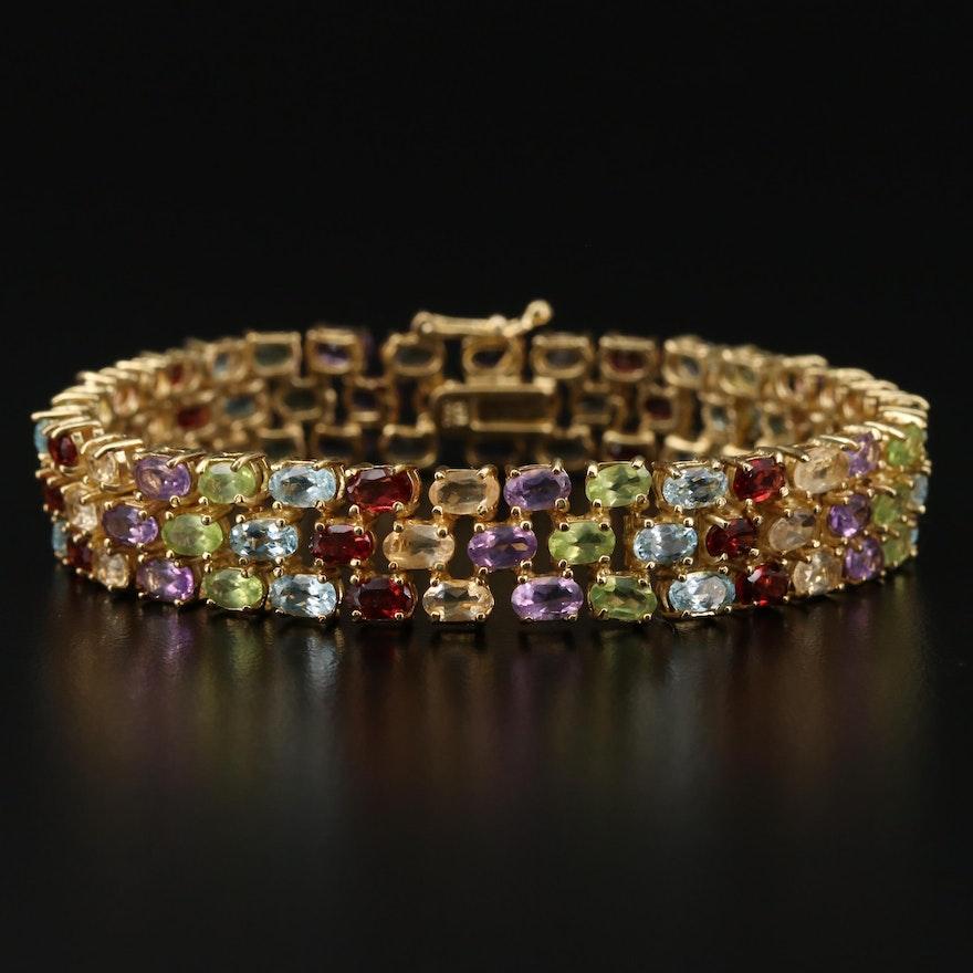 Gemstone Bracelet with Garnet, Topaz and Peridot