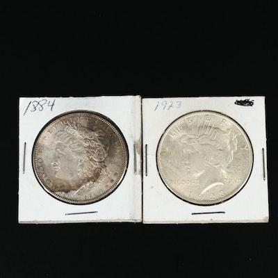1884 Morgan Silver Dollar and 1923 Peace Silver Dollars