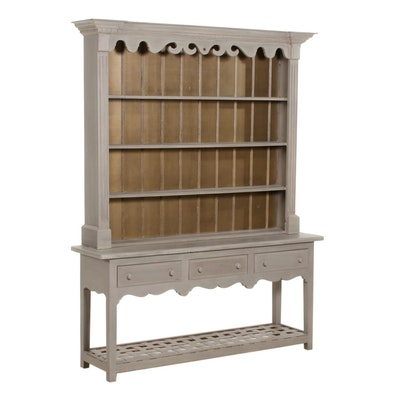 George III Style Grey-Painted Pine Pewter Cupboard
