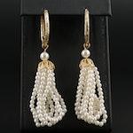 14K Yellow Gold Hoop Earrings with Imitation Pearl Tassel Dangles