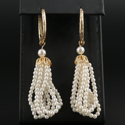 14K Yellow Gold Hoop Earrings with Imitation Pearl Tassel Dangles